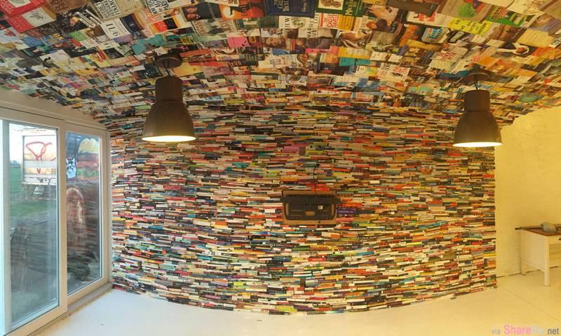 他买了4000本书打造另类书海墙 密集的视觉效果让人惊艳