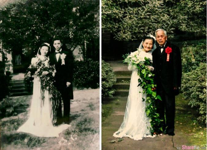 15张让人感受到真爱的唇在 从年轻挨到老 恋人重现当年旧照 就算变了样爱依然在