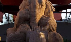 超精致!这个皱纹会让你以为是真的大象在下棋