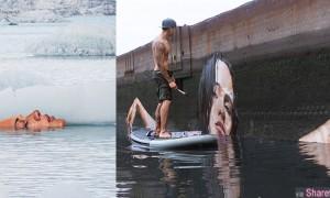 他站在浮板上 在荒废的建筑上画出栩栩如生的美女出浴图