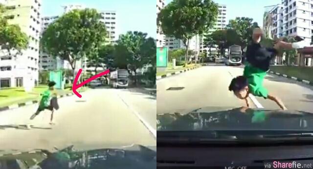 新加坡男童遭车子撞飞 行车记录器还原清白 引发网友舌战