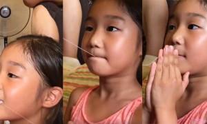 看到用线拔牙就觉得超恐怖  但妈妈突然这个动作 让这韩国小女生一点都没痛的当场傻眼
