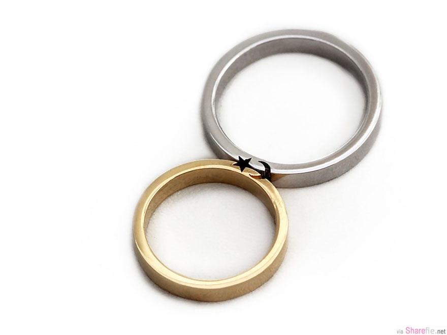 这对情侣戒指设计超棒 要跟另一半合体才能配对图案