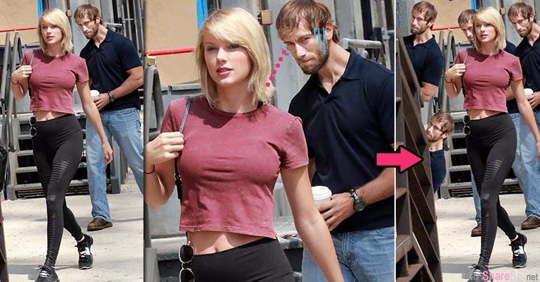 他只不过偷瞄了小天后泰勒丝一眼  结果被网友用PS恶搞成「背后偷看一眼哥」最后一张是经典