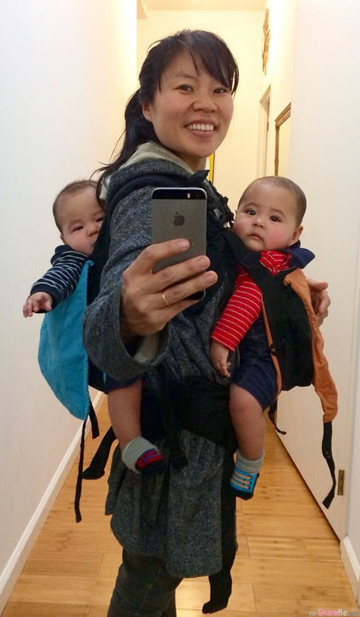 这名辣妈po出这张照片 证明女人怀孕生小孩后事业还是一样可以兼得