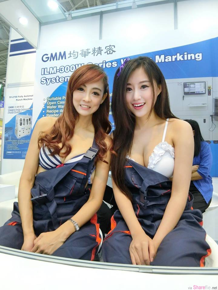 工业展场尺度需要这么大?直击摊位SG露奶球 ,网友:这是内衣展吗?