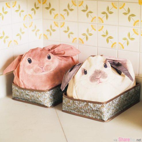 「兔兔收纳袋」当她把耳朵绑起来后你会萌到忘了原来它是收纳袋