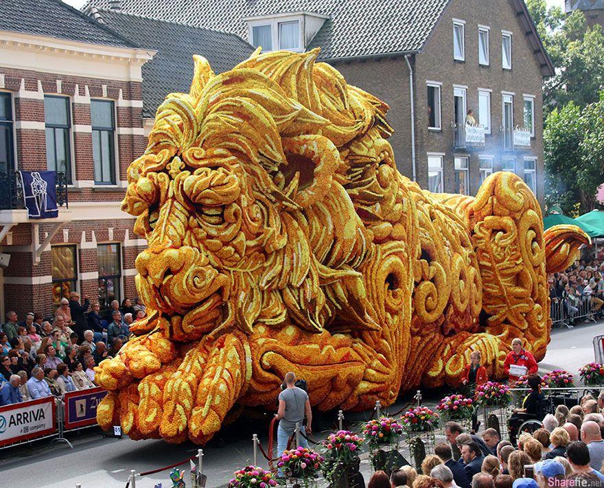 世界最大花卉游行来了 这个在荷兰举办的超巨型花车展 10组作品美的让人窒息
