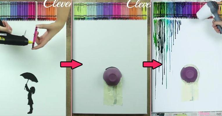 她把45只蜡笔黏再画纸上 随后再拿一个碗盖上 跟着她做你家就会出现超美的艺术壁画