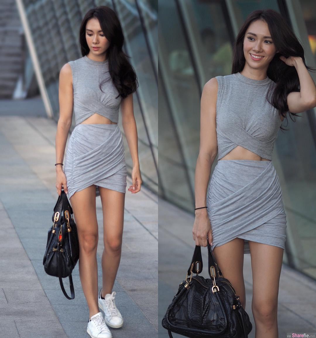 阳光型女孩笑容好甜美 ,网友:身材比例100分
