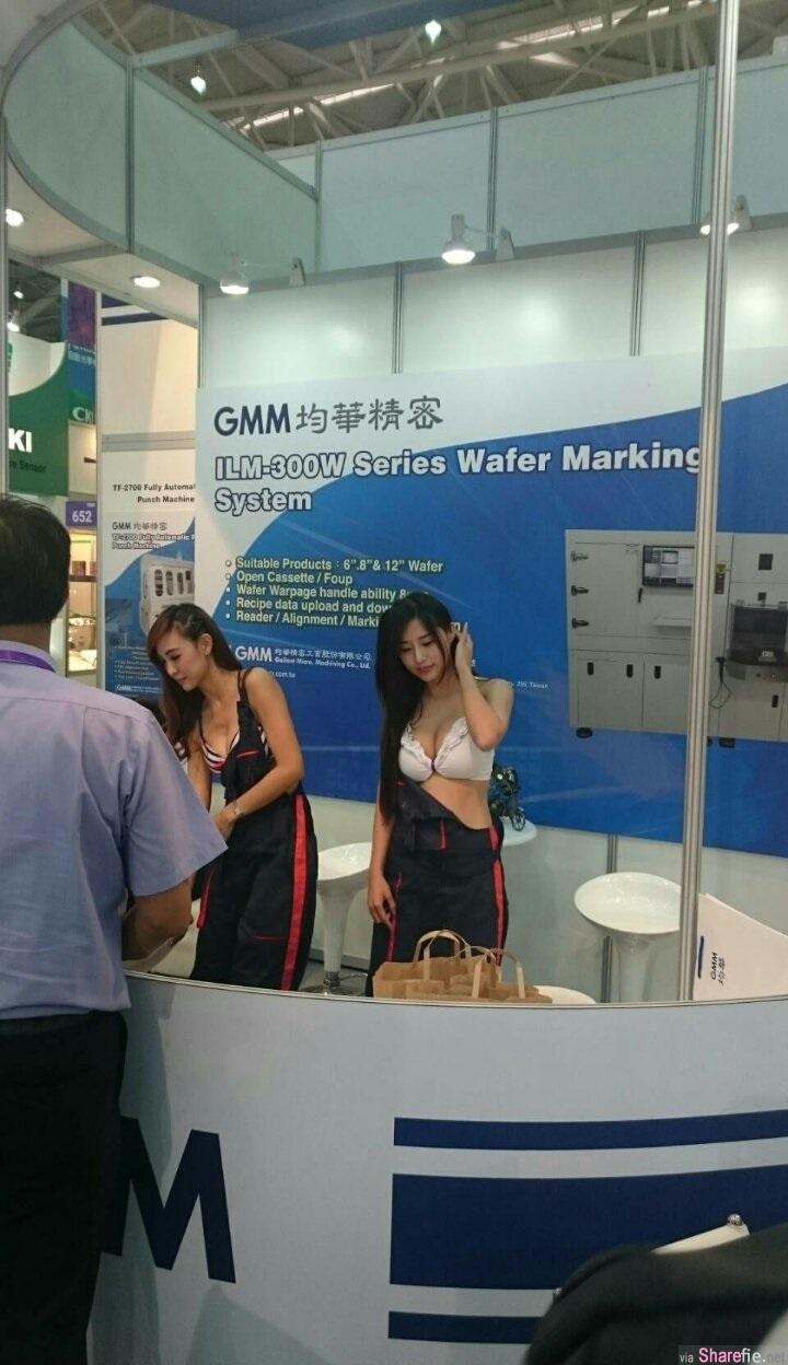 工业展场尺度需要这好大?直击摊位SG露奶球 网友:这是内衣展吗?