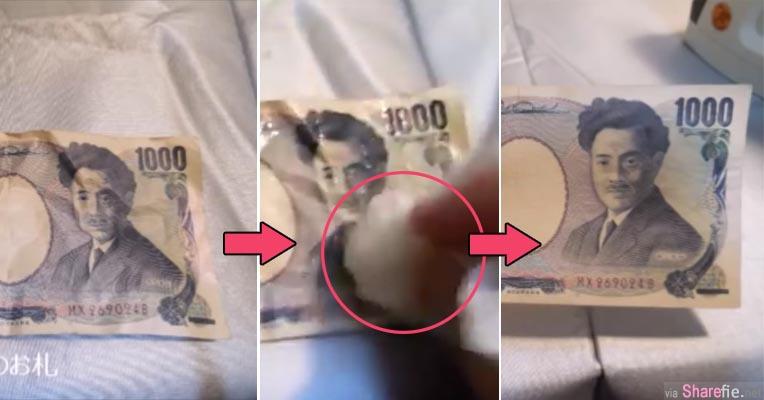 他用了这个「神奇水」让皱掉的纸钞瞬间变的平滑宛如新钞