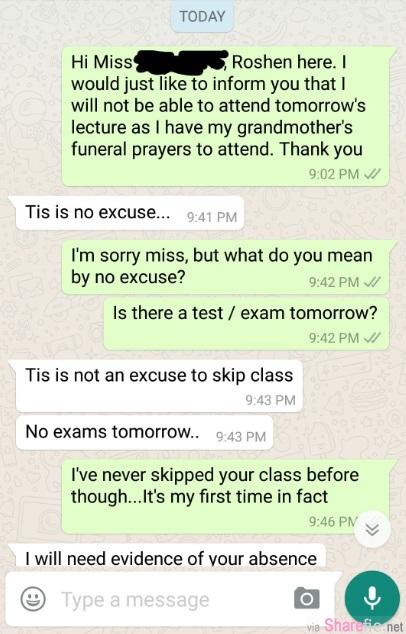 这名大学生因婆婆去世缺席上课而向老师请假  没想到与老师的对话竟引发疯传 学生:骨灰照片可以吗?