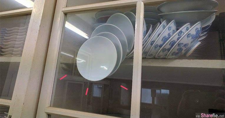 解谜题!柜子内瓷碗卡死「一开门就摔落」网友想出这个破解方法