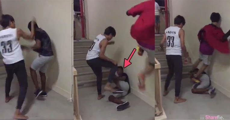 新加坡疯传少年楼梯口遭群殴  打完人后还到少年住家「谈判」要求销案