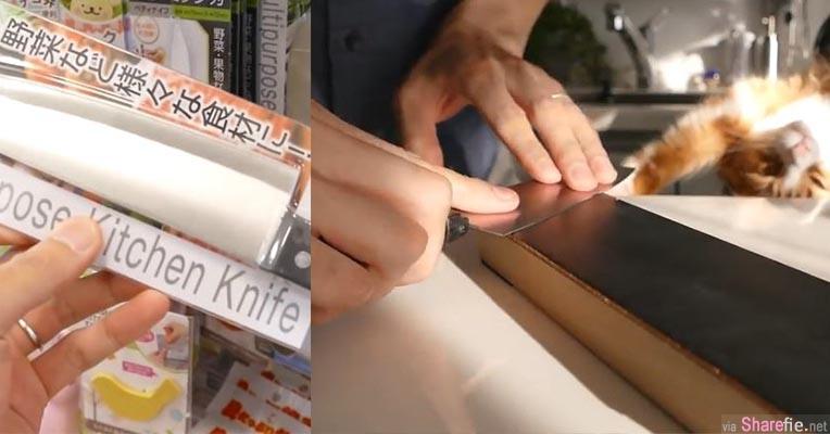 他到一元商店买了一把很普通的刀,然后用磨刀石磨刀, 当他拿出三个宝特瓶,割下去的效果让人超傻眼