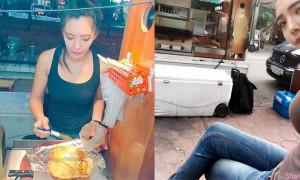 台中卖捲饼正妹 前来捧场的顾客除了老闆娘的高颜值还另有原因
