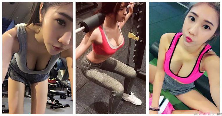 健身房里的正妹!网友:在运动的正妹就是不一样!!她们是我的动力