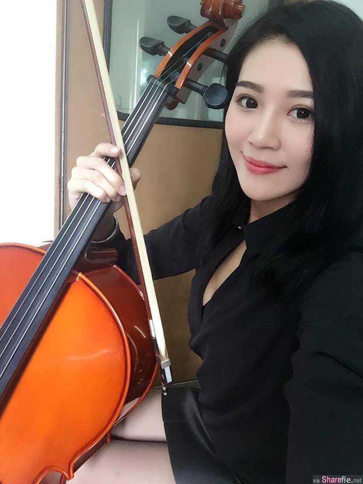 台湾大提琴正妹 孙莎莎 美胸美腿 网友:想当大提琴