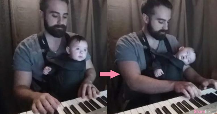 爸爸在钢琴前抱着宝宝弹奏这首「催眠神曲」没想到精神本来很好的宝宝竟然一下子就入睡了