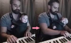爸爸钢琴前弹奏这首「催眠神曲」,宝宝竟然一下就入睡了