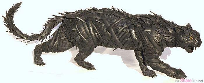 美国艺术家轮胎再循环 惊现威风凛凛大动物