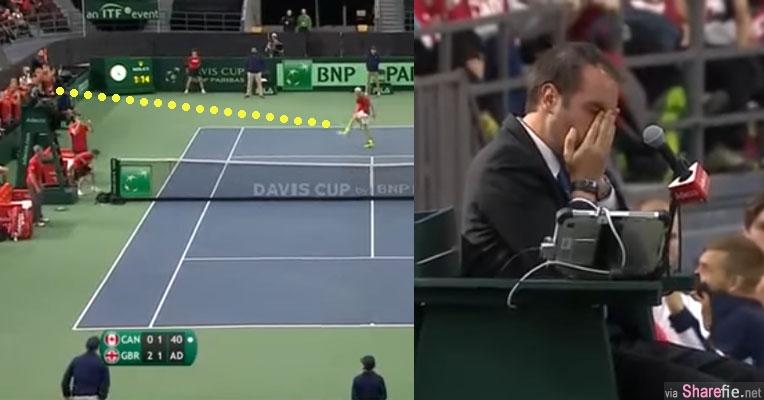 这名加拿大网球小将因失分将手中网球怒气轰出 好死不死竟击中裁判左眼(有视频)