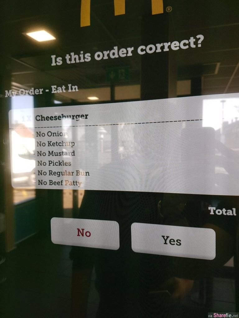 他在麦当劳新点餐机点了一个芝士汉堡外加上这些「备註」,没想到真的让他达成所愿