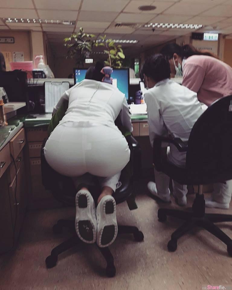 护理师光脚坐柜台 「不雅照」引发网友热议