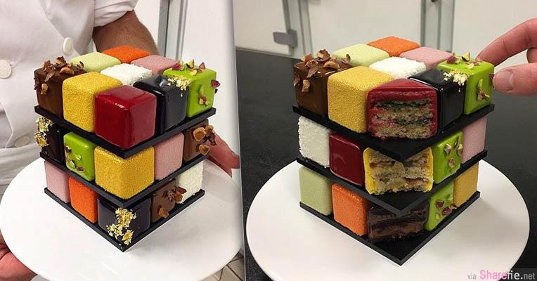 法国甜点师推出3款「魔术方块蛋糕」每款27块小蛋糕1块都不能放过