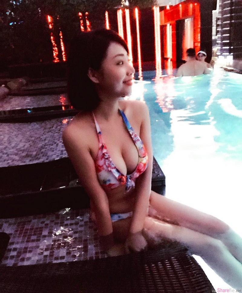 台湾正妹 舒舒小厨娘 换上红色比基尼 核弹级身材呼之欲出