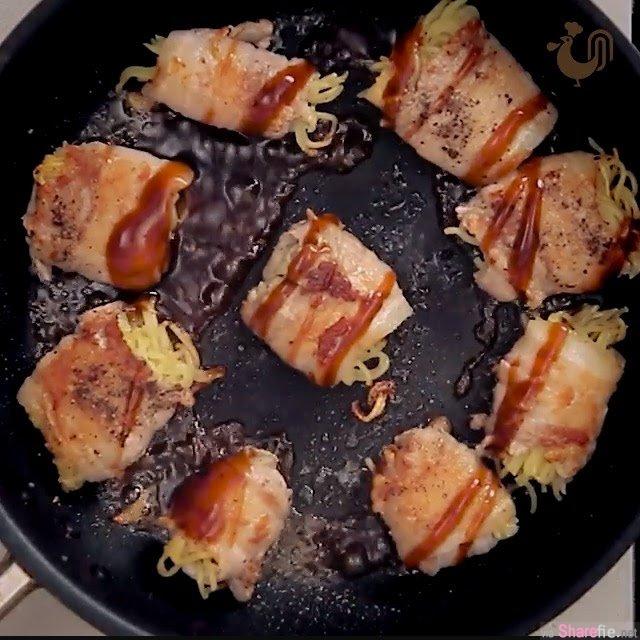 他把拉面切成9宫格,再配上这「片」,最后「煎」出来香喷喷的美食让人超想吃