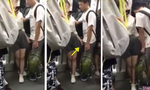 地铁车厢女生一手玩手机,另一只手却...最后男生抖了一下 网:女版加藤鹰