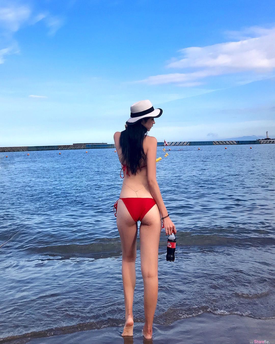 正妹品妍到日本海边玩水,跪在海滩释放健康最美体态