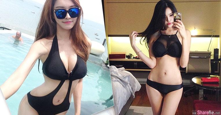 韩国网店女模hwang黑色泳装露出超犯规的S曲线