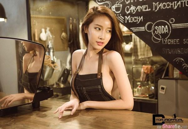 正妹咖啡师,围裙藏不住的性感