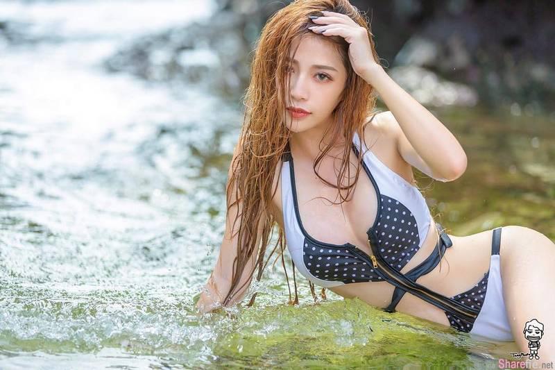 台湾女模Fairy 雨䕕,深夜比基尼自拍拉太低害网友失眠