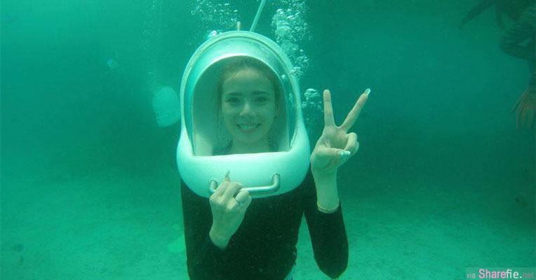 女生第一次潜水身旁却没鱼求p图大神帮帮忙,头盔拿掉原来是超凶正妹