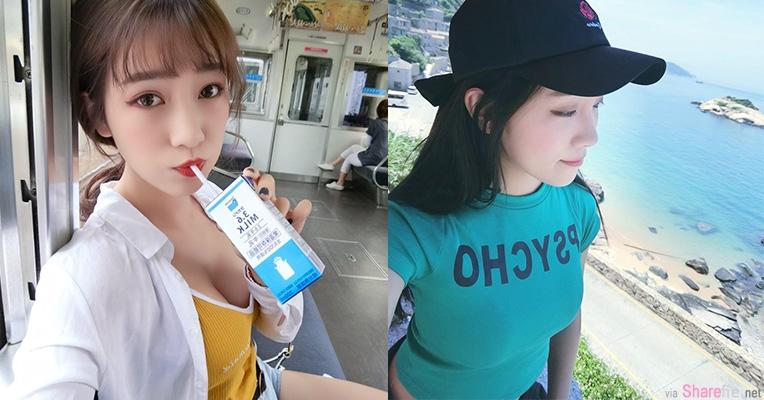 正妹刘萱车厢内喝牛奶,网友:奶量很饱满