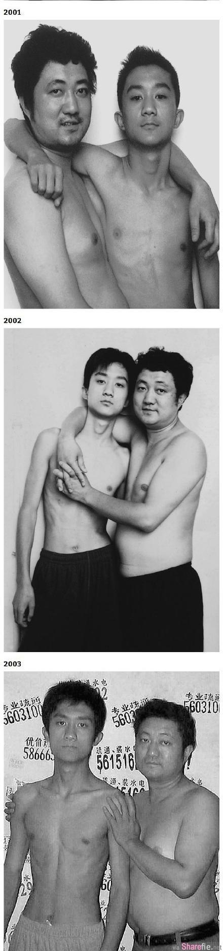 这名父亲每年都会抱着儿子拍合照,30年过去,看到最后眼眶都湿了