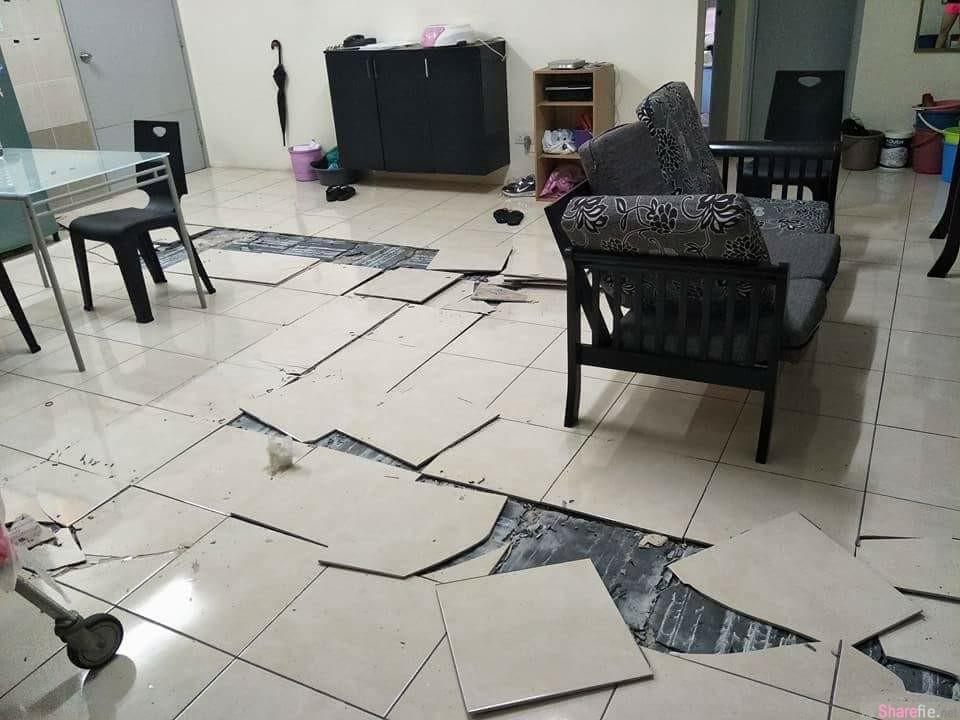 网友分享家中地砖突然「啪啪啪」爆裂弹飞,但眼尖网友发现家里竟然出现这个东西...