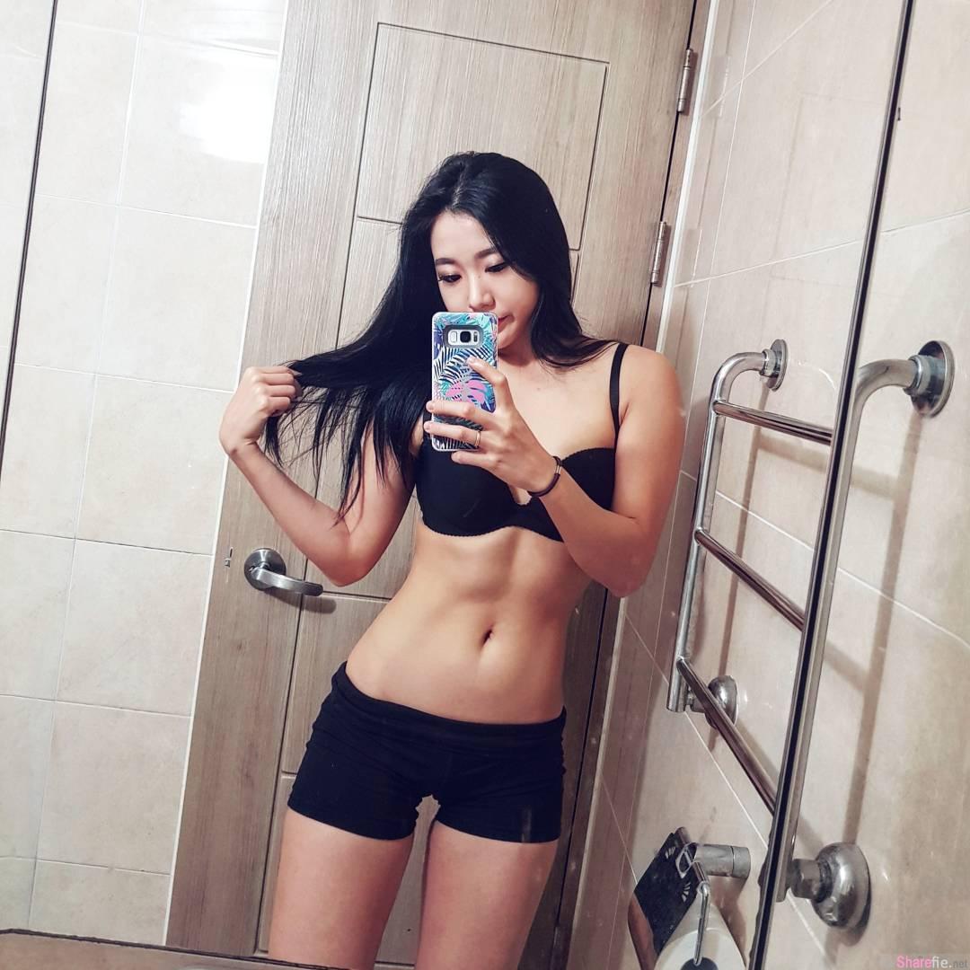 韩国健身正妹,紧身衣完美展现诱人曲线