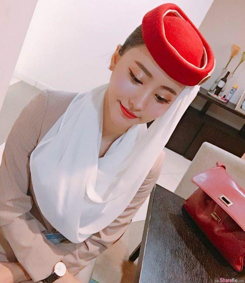 阿联酋航空正妹空姐,超美颜值,网:好想被她服务