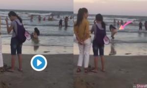 深V妹全裸蹲在海里疑似大小便影片疯传,网友:难怪海水是咸的