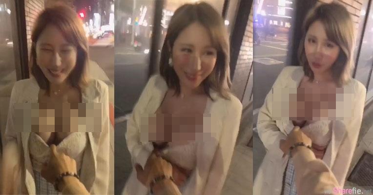 辣模网红示范新版「遛女友」 ,圆润双乳街头差一点弹出