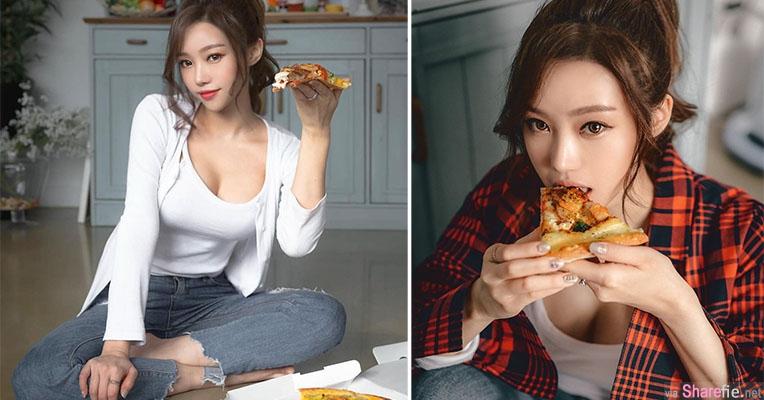 正妹坐地吃Pizza,万人点赞,网:想当pizza