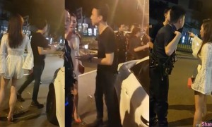 新加坡街头闹事出动警方到场,网友焦点锁定白色深V
