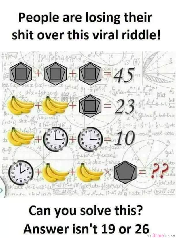 最新图案数学题考倒百万网友「内附答案」