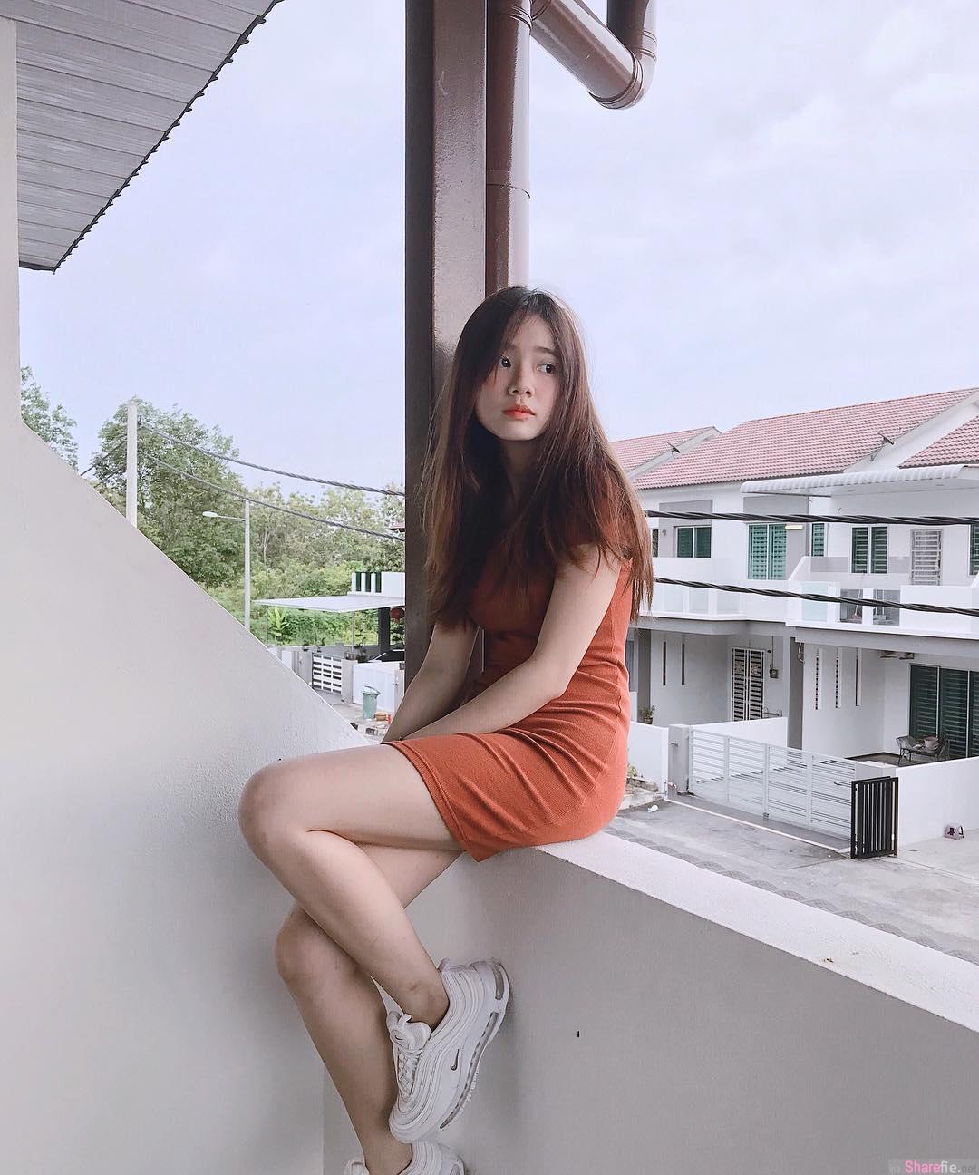 大马清新正妹ShiKhei Chan,绝美脸蛋,阳台外拍展现诱人美腿