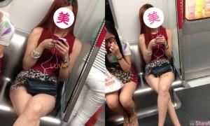 地铁惊遇短裙美腿正妹,她忍不住拿出手机偷拍,越拍越爽结果...